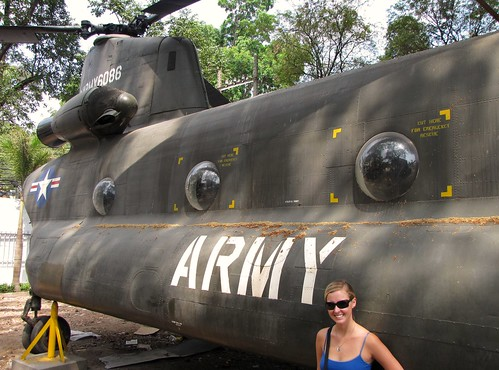 War Remnants Museum - Ash Next To CH-47 American Chinook Dual Rotor Helicopter - v2