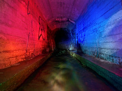coloured hole (MM ) Tags: longexposure blue red lightpainting green water bulb river underground flow movement stream tunnel drain lp mm rgb culvert urbanexploring urbex countydurham paintingwithlights