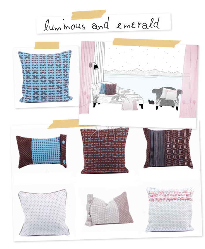 Pretty cushions by luminous and emerald