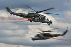 Mil Mi-24V Hind E attack helicopters (Tim Beach) Tags: czech air attack helicopter international e fest hind mil 2010 hradec ciaf mi24 kralove mi24v