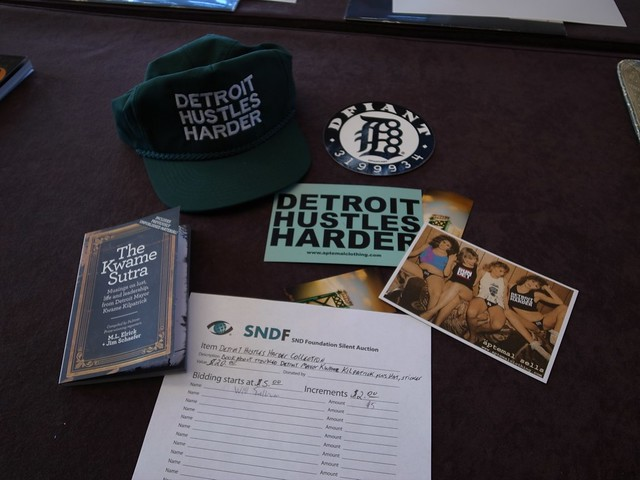 """Detroit Hustles Harder"" Silent Auction Package (Photo courtesy of Satoshi Toyoshima)"