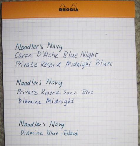 Noodler's Navy Ink Color Comparisons