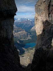 Mt Victoria - view down to Lake O'Hara (.Anton) Tags: canada mountains rockies climb climbing alpine lefroy alpineclimbing mtlefroymtvictoriasouthandmthuberinaday