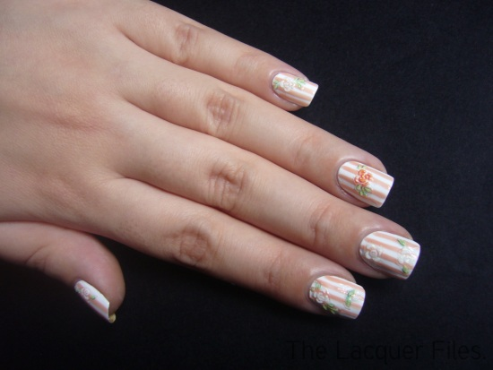 Stripes Flowers Nail Art Design Stickers
