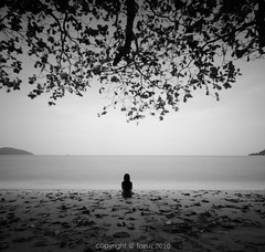 _ | _ (EXPLORE  FRONT PAGE) (mr_fairuz) Tags: sea bw hot 6x6 beach beautiful daylight rocks long exposure cloudy islam tripod laut sigma wave calm foam serenity slip indah nikkor milky damai silky 2010 fairuz uwa cantik composion zilzal nd110