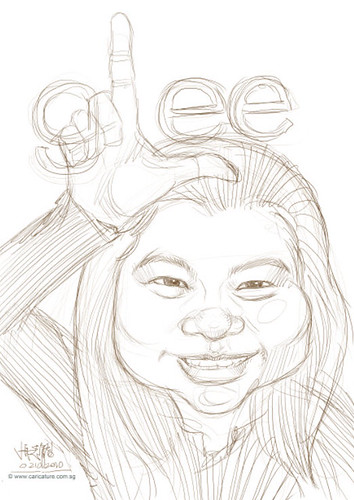 Glee-themed caricature - draft