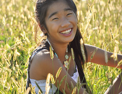 i think (chelsea chen.) Tags: girl smile face field grass asian necklace maple warm laugh