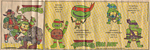 Teenage Mutant Ninja Turtles { newspaper strip } ..Mike v.Bebop & Rocksteady ..art by Lawson :: 07211991