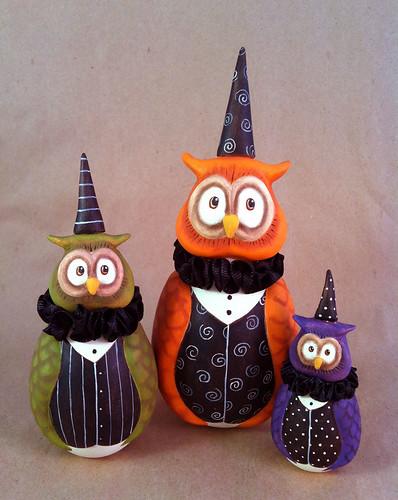 Trio of Halloween Owls