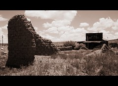 Steins Ghost Town (Rakel Reds) Tags: old usa newmexico wall town bricks ghost processed picnik steins cmwdblackandwhite