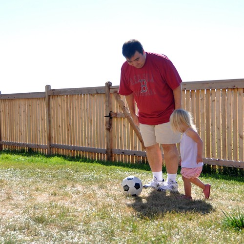 Mike and Muriel Playing Some Backyard Soccer