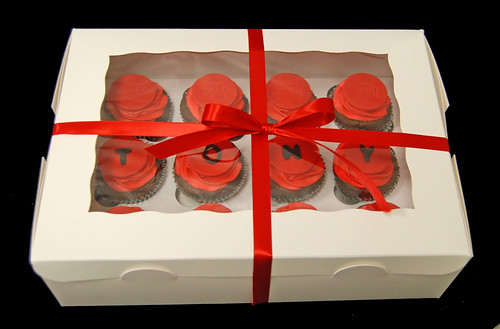 red and black cupcakes surprise delivery for a 25th party