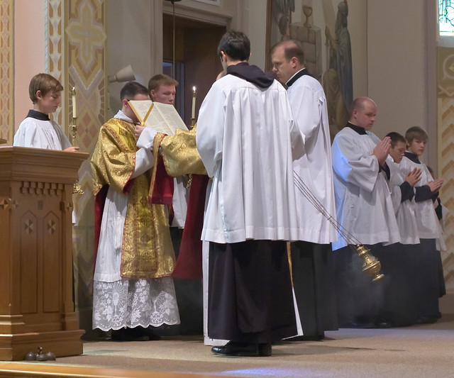 Father David Kemna, FSSP, at Saint Francis of Assisi Catholic Church, in Portage des Sioux, Missouri, USA - Gospel reading