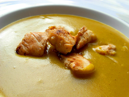 Curried Potato Soup with Grilled Chicken