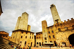 San Gimignano - where towers dare (manlio_k) Tags: sky tower clouds golden wide tuscany piazza sangimignano toscana hdr