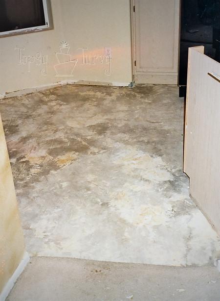 cement floor in kitchen