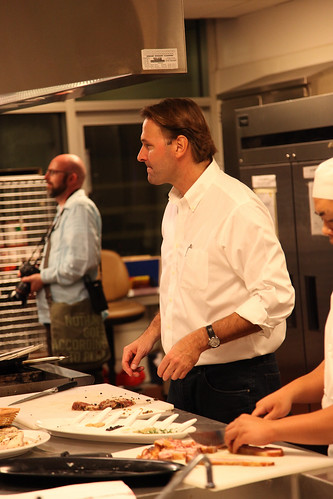 Michael Ruhlman giving a demonstration at California Culinary Academy