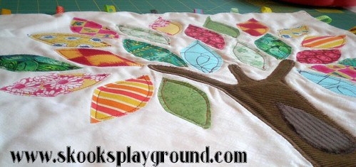 Tree Applique Taggie Blanket - Detail