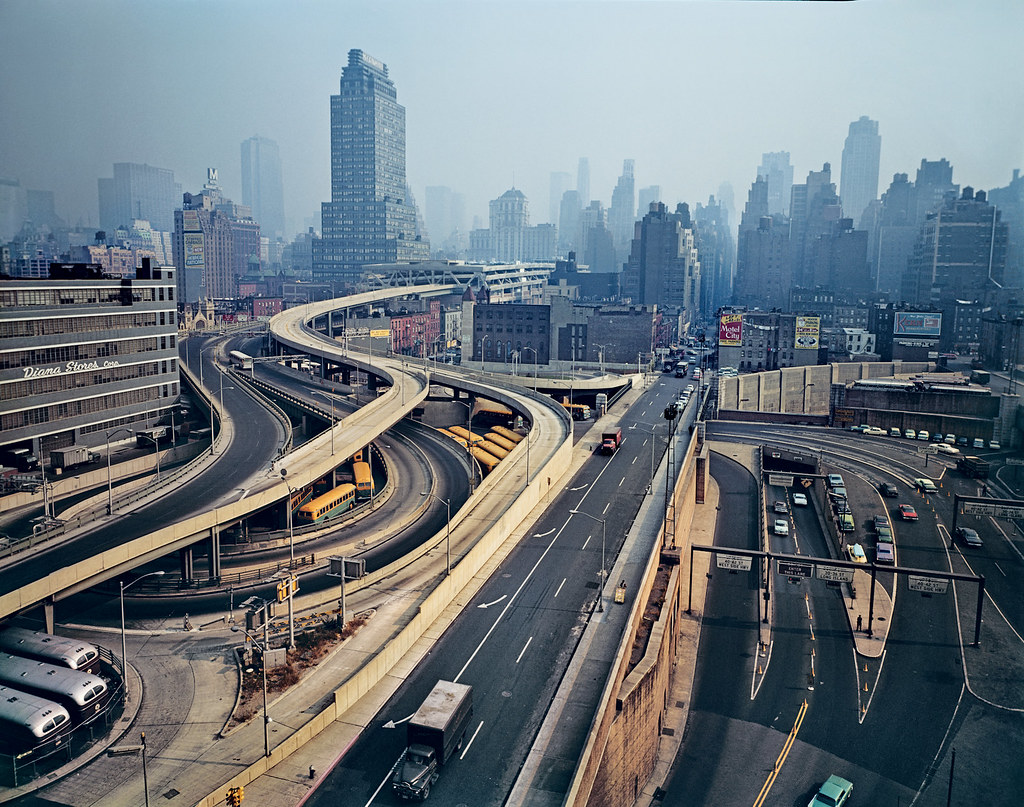 Evelyn Hofer: Arteries. A series of highways flowing through the heart of Manhattan's West Side, 1964.