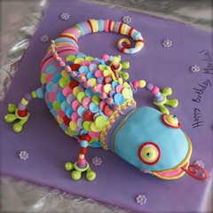 Chameleon from Colette Peters book (*liis*) Tags: party cake whimsy colours purple lizard colourful chameleon limassol funcake birhdaycake wwwtourtescom