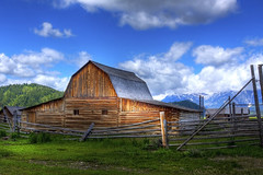 Moulton Barn - Grand Teton National Park (Becky Stillions Photography) Tags: sky mountains nature clouds barn canon landscape outdoors day cloudy scenic naturallight fields grandtetons mormonrow moultonbarn projectweather beckystillionsphotography