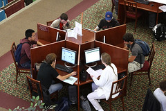 Student using computer in the library