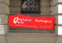 RED BANNER : Nottingham  Old Market Square : Socialist Party -  Unison Rally - 18th October 2010  [ S1054508 ] (Lenton Sands) Tags: nottingham rally socialist oldmarketsquare unison teachersunion redbanner socialistpartynottingham