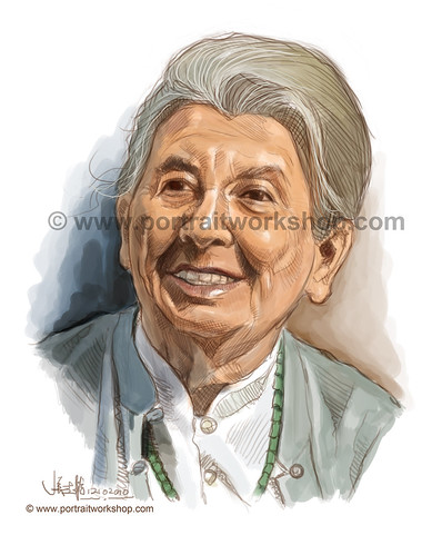 digital portrait illustration of Ann Wee watermark