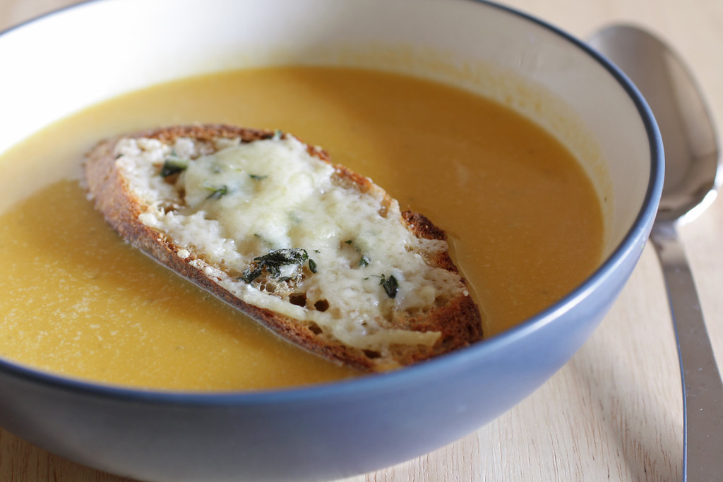 My Madison Bistro » Winter Squash Soup with Gruyere Croutons