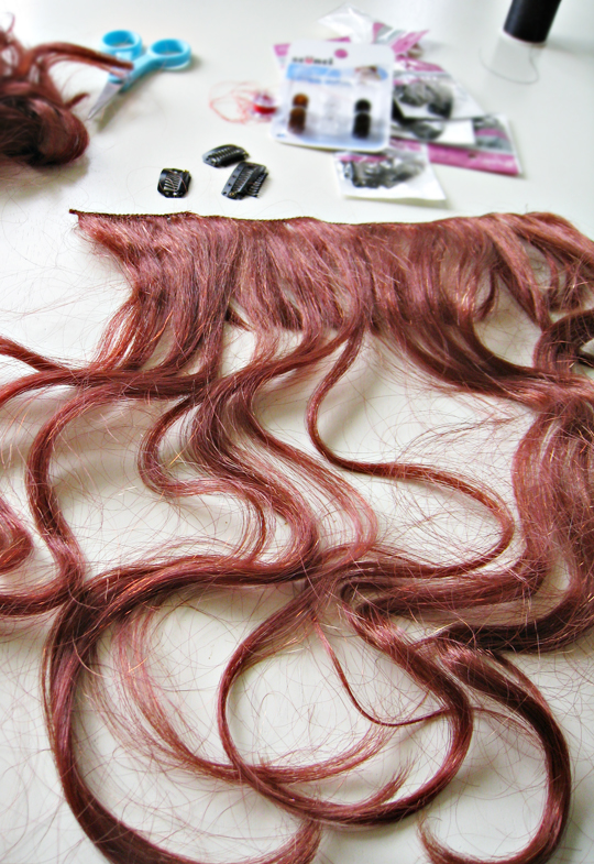 how to make clip in hair extension from a wig+DIY+Hair Tutorial+Costumes+Halloween wig - 4