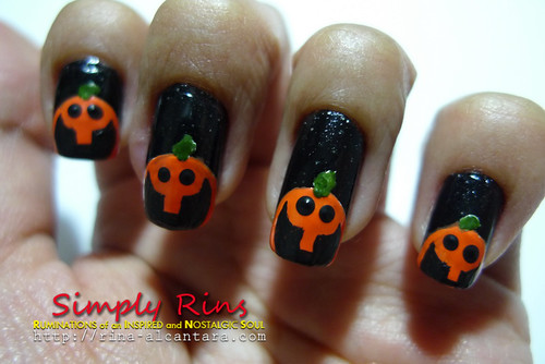 Nail Art Halloween Peeping Pumpkins 06