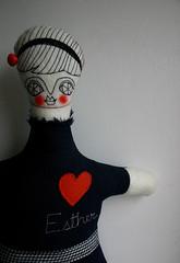 (cara carmina) Tags: pink flowers blue orange black mexico dolls heart frida colores artdolls fridakahlo esther corazon monas muñecas clothdolls flres lovelydolls recyclefabrics muñecasrecicladas