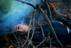 xix (Steven Sites) Tags: autumn woman cold color tree fall girl leaves fog canon ball dead outside outdoors eos 50mm leaf eyes mark f14 branches smoke ii fallen 5d steven bomb twigs sites stevensites