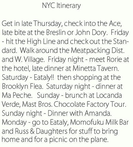 NYC Itinerary III