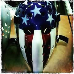 USA! (the_mel) Tags: hockey minnesota goalie mask stpaul minneapolis equipment goaltender twincities iphone4 hipstamatic