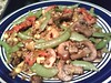 snap pea, mushroom, roasted red pepper, corn & veggie burger stir fry