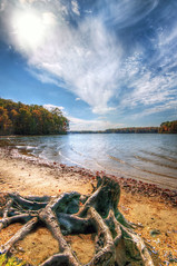 Lake Anna Autumn (Sky Noir) Tags: travel autumn sky anna usa lake fall photography virginia scenery day unitedstates cloudy shoreline scenic bluesky va partlycloudy highclouds skynoir projectweather bybilldickinsonskynoircom