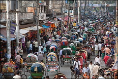 rickshaws - Dhaka (Maciej Dakowicz) Tags: city travel tourism asia view traffic capital crowd transport dhaka rickshaw bangladesh sadarghat hectic olddhaka