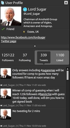 Lord Sugar Tweets during 2-min silence