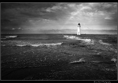 Perch Rock 4BW (Brian Gort Wildlife Photography) Tags: sea sky bw cloud lighthouse storm rock liverpool mono boat nikon wind ngc dramatic wave filter nd perch windfarm manfrotto wirral fader d90 nikond90 flickraward 055xprob naturesprime flickraward5 327rc2