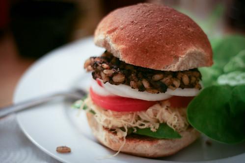 Mushroom barley veggie burgers