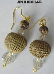 Metal Bead and Swarovski Crystal Earrings