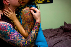 Day 10 of 365 Days of Love! (NEW|photography (Formerly: Nikki Loux Photography)) Tags: portrait fall love ma bed bedroom kiss couple massachusetts newengland tattoos lipring 365 mass piercings sleeve plugs gauges tatouage halfsleeve raynham dvme 365project