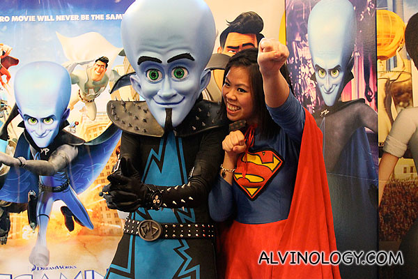 Aimee as Supergirl, together with Megamind
