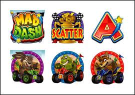 free Mad Dash slot game symbols