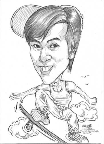 Skateboarding caricature in pencil