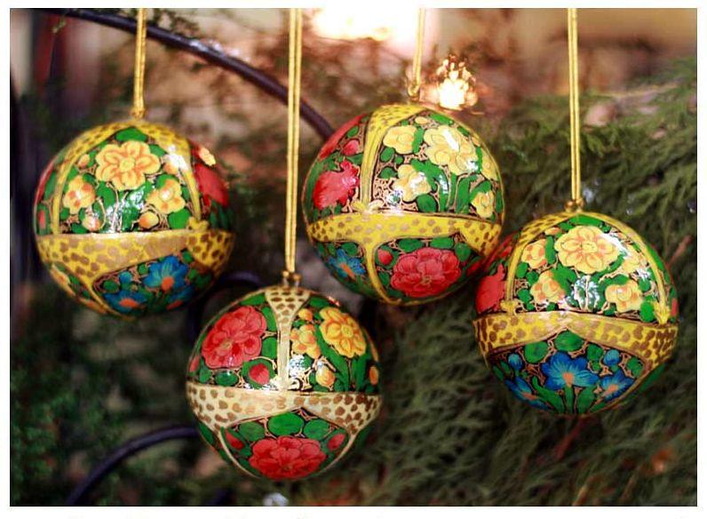 Hand Designed Holiday Joy Christmas Ornaments, Set of 4