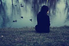 someone like me (explored) (londonscene) Tags: blue black green nature water girl grass canon ducks explore teleidoscope
