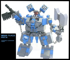 N1-NJ4 (Ninja) Class Mech (tin) Tags: werewolf robot lego attack vehicles prototype rocket ba weapons mecha bot mech minigun proto hardsuit chaingun brickarms