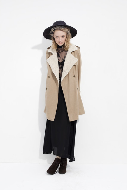 shearling jacket maxi skirt